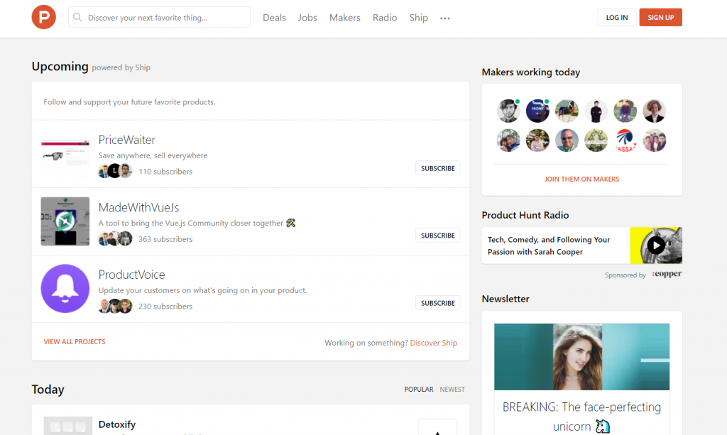 Product Hunt Homepage, what is Product Hunt