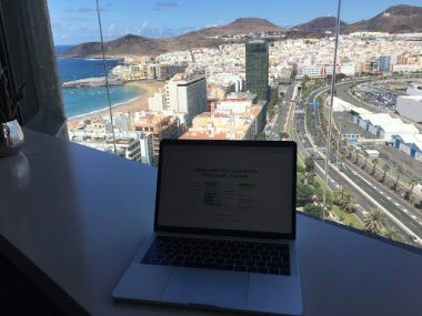 Getting some work done with a nice view of Las Palmas de Gran Canaria