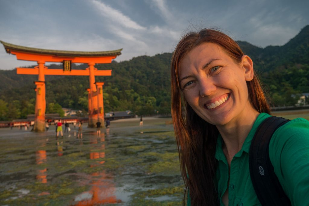 Selfie at the gorgeous floating torii gate in Miyajima, Japan