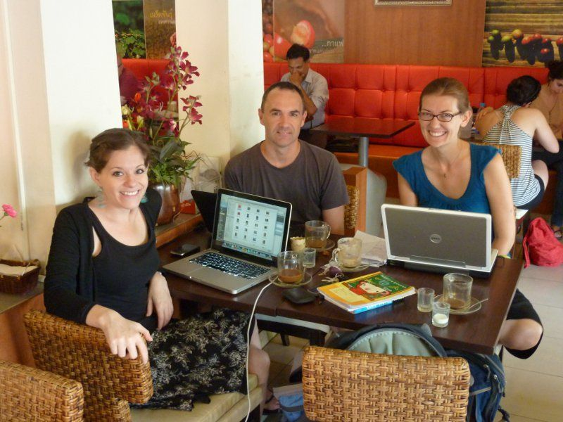Working remotely at a cafe in Chaing Mai, Thailand