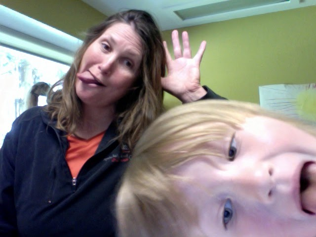 Finding work to do alongside mom, photo apps were fun.