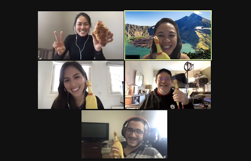 My current marketing team at Voice123, we were on our virtual retreat and received squeaky chickens in our swag package.