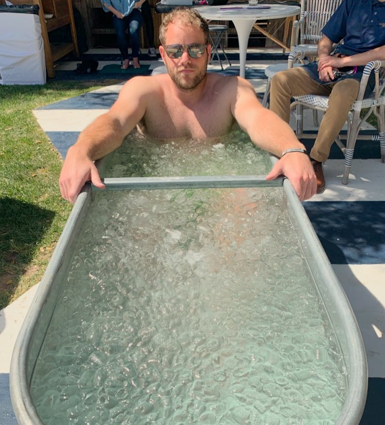 Mid-afternoon ice baths as part of the rest and relaxation regimen.