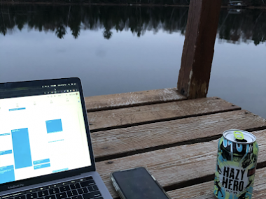 A huge benefit - being able to work from the pier on a lake for an evening call.